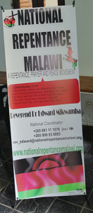 Printed Banner for National Repentance Malawi