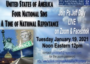 Poster for a Zoom Call Streaming to FB for Ps Jeff on National Day of Repentance