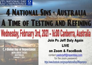 Poster for Australia Repentance Zoom call we managed